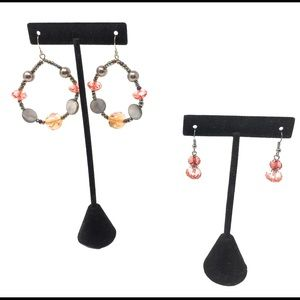 Jewelry - Beaded Hoop Earrings & Dangle Glass Earring Set